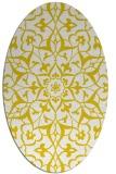 rug #921241 | oval yellow damask rug