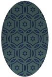 rug #926365 | oval blue damask rug