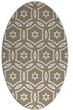 rug #926625 | oval beige damask rug