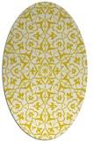 rug #933841 | oval yellow damask rug