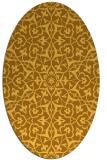 rug #933845   oval yellow damask rug