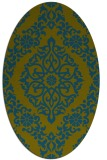 rug #944405 | oval green damask rug