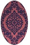 rug #944421 | oval blue-violet damask rug