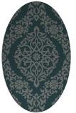 rug #944457 | oval green damask rug