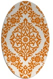 rug #944529 | oval orange damask rug