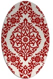 rug #944573 | oval red damask rug