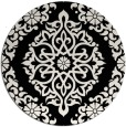 rug #945325 | round black damask rug