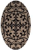 rug #949737 | oval beige damask rug