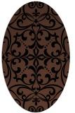 rug #949741 | oval brown damask rug