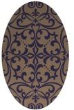 rug #949833 | oval blue-violet damask rug