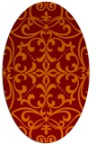 rug #949925 | oval red-orange damask rug