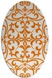 rug #949929 | oval orange damask rug