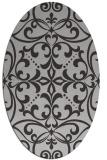 rug #949937 | oval orange damask rug