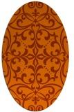 rug #949989   oval red-orange rug