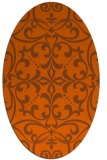 rug #949997 | oval red-orange damask rug