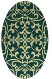rug #950049   oval yellow damask rug