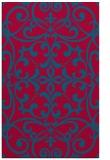 rug #950209    blue-green damask rug