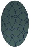 rug #953365   oval blue retro rug