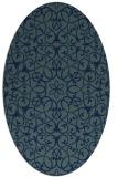 rug #956965 | oval blue damask rug