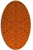 rug #957189 | oval red-orange damask rug