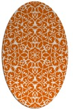 rug #957201 | oval red-orange damask rug