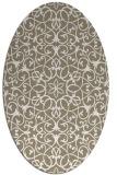 rug #957225 | oval beige damask rug
