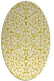 rug #957241 | oval yellow damask rug