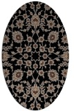 rug #969541 | oval brown damask rug