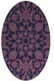 rug #969625 | oval blue-violet damask rug