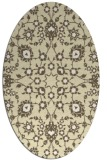rug #969833 | oval yellow damask rug