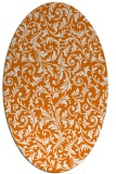 rug #980529 | oval orange damask rug