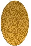 rug #980645   oval yellow damask rug