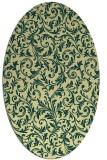 rug #980649   oval yellow damask rug