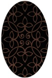 rug #982141 | oval brown damask rug