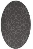 rug #982273 | oval brown damask rug