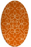 rug #982393 | oval red-orange damask rug