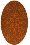 rug #982397 | oval red-orange damask rug