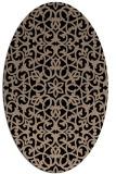 rug #983937 | oval beige damask rug