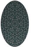 rug #984057 | oval green damask rug