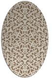 rug #984077 | oval beige damask rug