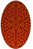 rug #984125 | oval orange damask rug