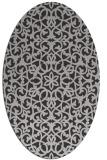 rug #984137   oval orange damask rug