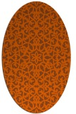 rug #984197 | oval red-orange damask rug