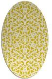 rug #984241 | oval yellow damask rug