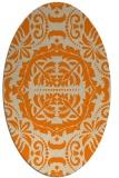 rug #988245   oval beige damask rug