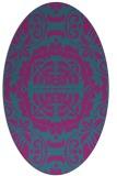rug #988329   oval pink damask rug