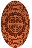 rug #988457 | oval orange damask rug
