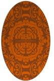 rug #988517 | oval red-orange damask rug