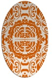 rug #988521 | oval red-orange damask rug