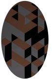 rug #997253 | oval black geometry rug